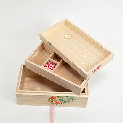 桐のお針箱(大) 〈花丸紋様〉 | 桐箱・京都 堀川五条 ...